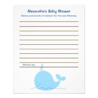 Lite kort för rådgivning för baby shower för blått  reklamblad 11,5 x 14 cm