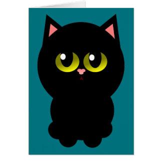 Lite lycklig svart katt hälsningskort