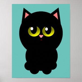 Lite lycklig svart katt poster