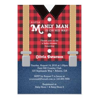 Lite manbaby showerinbjudan, Lumberjack 12,7 X 17,8 Cm Inbjudningskort