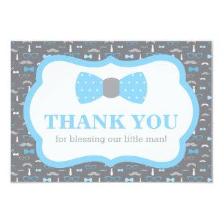 Lite mantackkort, baby blue och grått 8,9 x 12,7 cm inbjudningskort