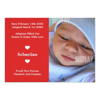 Lite meddelande för hjärtanyfödd bebisadoption 12,7 x 17,8 cm inbjudningskort