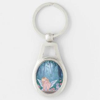 Lite mirakelängel & kattungeOval Keychain Ovalt Silverfärgad Nyckelring