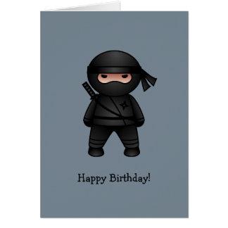 Lite Ninja på grå färggrattis på födelsedagen Hälsningskort