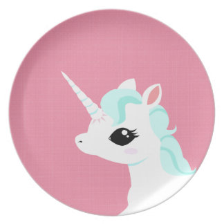Lite pläterar unicornen med blåttmanen tallrik