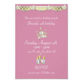 Lite Princess i rosor och pärlafödelsedag 8,9 X 12,7 Cm Inbjudningskort