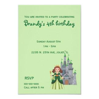 Lite Princess och slott i grön födelsedag 8,9 X 12,7 Cm Inbjudningskort
