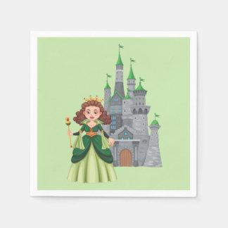Lite Princess och slott i grönt Servetter