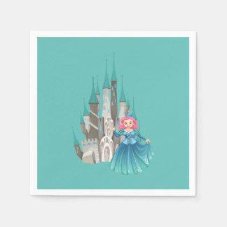 Lite Princess och slott i turkos Servett