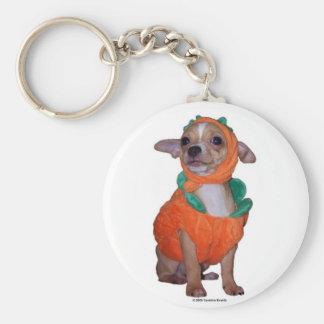 Lite Pumpking Chihuahua Rund Nyckelring