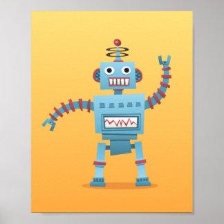 Lite retro för barn för affisch för robotväggkonst