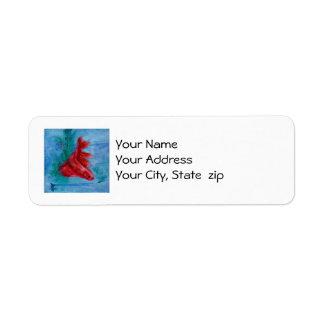 Lite röd Betta fisk Returadress Etikett