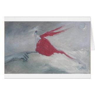 Lite röd fågel hälsningskort