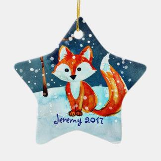 Lite röd räv i snö stjärnformad julgransprydnad i keramik