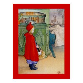 Lite röd ridninghuva 1913 vykort