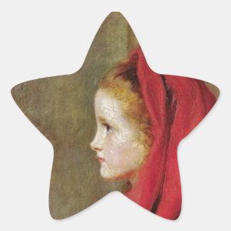 Lite röd ridninghuva av John Everett Millais Stjärnformat Klistermärke