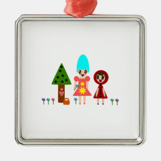 Lite röd ridninghuva och mormor 344 julgransprydnad metall