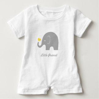 Lite Romper för jordnötelefantbaby, gul hjärta T-shirts