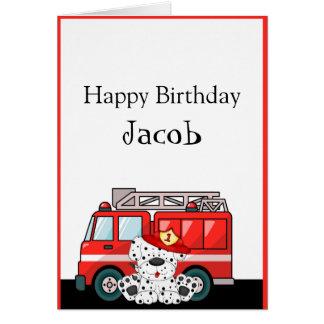 Lite rött avfyra lastbilen, Dalmatian födelsedag Hälsningskort