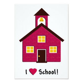 Lite rött skola huset som jag älskar skolar 12,7 x 17,8 cm inbjudningskort