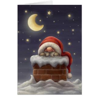 Lite Santa i en lampglas Hälsningskort