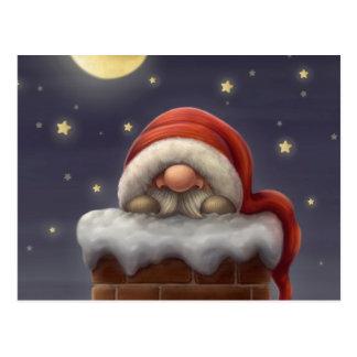 Lite Santa i en lampglas Vykort