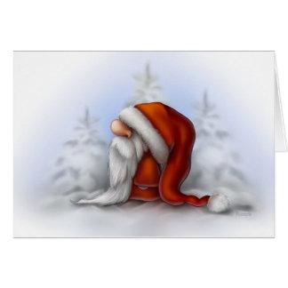 Lite Santa i snön Hälsningskort