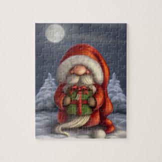 Lite Santa med en gåva Pussel