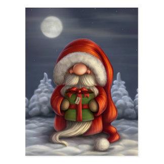 Lite Santa med en gåva Vykort