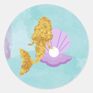 Lite sjöjungfru under klistermärkearna för runt klistermärke