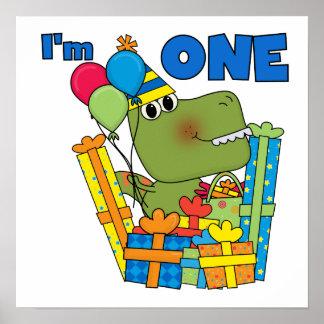 Lite skjortor och gåvor för Dino 1st födelsedag T Affisch