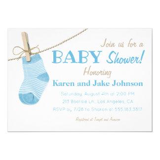 Lite slår blått pojkebaby showerinbjudan 12,7 x 17,8 cm inbjudningskort