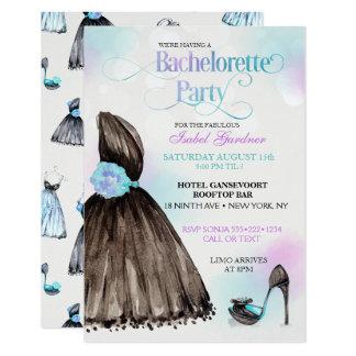 Lite svart klänningstilettBachelorette party 8,9 X 12,7 Cm Inbjudningskort