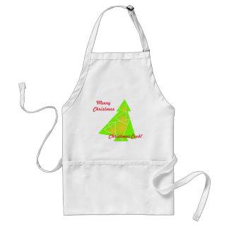 Lite träd med ett julgrankonstverk på förklädet förkläde