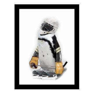 Lite utrustar pingvinet som ha på sig hockey vykort