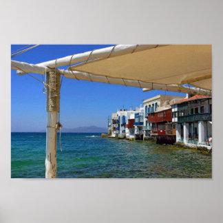 Lite Venedig av den Mykonos ön Grekland Poster