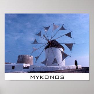 Liten affisch för Mykonos kvarn