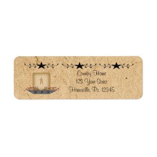 Liten etikett för stjärnagränsstearinljus returadress etikett