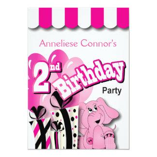 Liten flicka 2nd födelsedagsfest 12,7 x 17,8 cm inbjudningskort