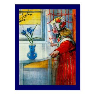 Liten flicka med blåttirisen vykort