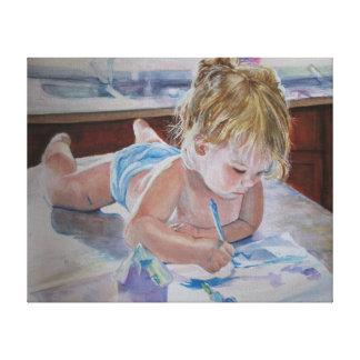 Liten flickamålning canvastryck