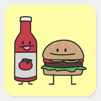 Liten pastej för bulle för hamburgare- och fyrkantigt klistermärke