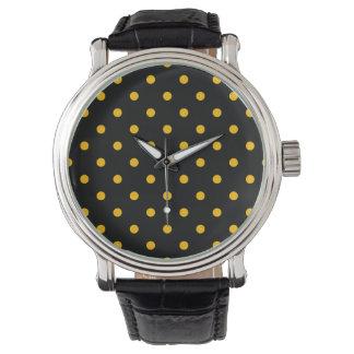 Liten polka dots - bärnsten på svart armbandsur