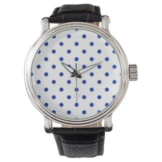 Liten polka dots - imperialistiska blått på vit armbandsur