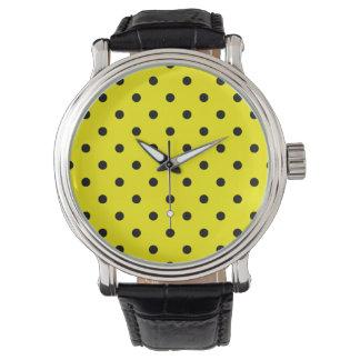 Liten polka dots - svart på citronen armbandsur