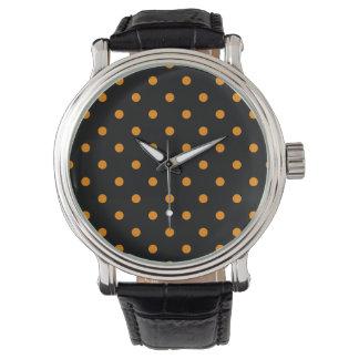 Liten polka dots - Tangerine på svart Armbandsur
