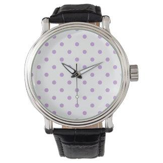 Liten polka dots - Wisteria på vit Armbandsur