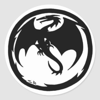 Liten rundaklistermärke för svart drake runt klistermärke