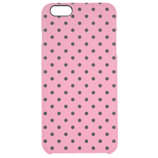 Liten svart polka dots på shock rosa clear iPhone 6 plus skal