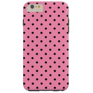 Liten svart polka dots på shock rosa tough iPhone 6 plus fodral